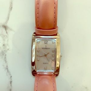 Peugeot Mother of Pearl watch w/ pink leather band